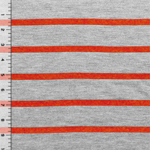 Red Orange Heather Gray Small Stripe Cotton Jersey Blend Knit Fabric