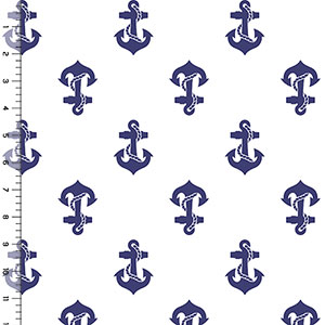 Navy Blue Anchors Away on White Cotton Jersey Blend Knit Fabric