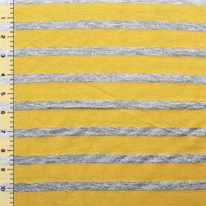 Small Heather Gray and Mustard Yellow Stripe Cotton Jersey Blend Knit Fabric