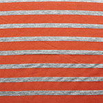 Small Heather Gray and Red Orange Stripe Cotton Jersey Blend Knit Fabric