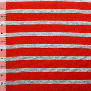 Half Yard Small Heather Gray and True Red Stripe Cotton Jersey Blend Knit Fabric