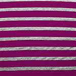 Small Heather Gray and Magenta Pink Stripe Cotton Jersey Blend Knit Fabric