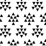 Black Triangle Arrows on White Cotton Jersey Blend Knit Fabric