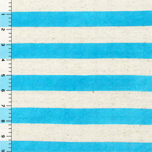 Sky Blue and Oatmeal Stripe Cotton Jersey Blend Knit Fabric
