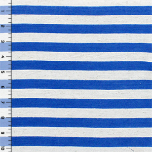 Royal Blue Oatmeal Half Inch Stripe Cotton Jersey Blend Knit Fabric