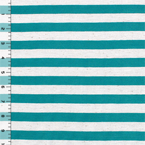 Teal Blue Oatmeal Half Inch Stripe Cotton Jersey Blend Knit Fabric