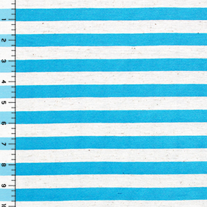 Sky Blue Oatmeal Half Inch Stripe Cotton Jersey Blend Knit Fabric