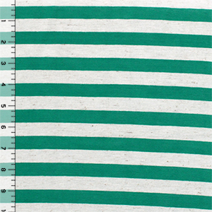 Kelly Green Oatmeal Half Inch Stripe Cotton Jersey Blend Knit Fabric
