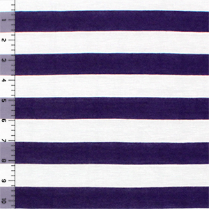 Half Yard Royal Purple And White Stripe Cotton Jersey Blend Knit Fabric