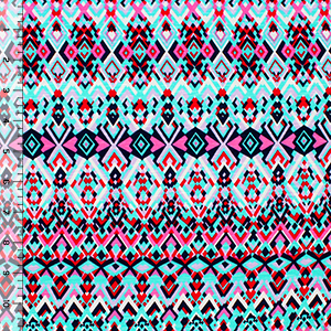 Navy Pink Turquoise Small Diamonds Slub Cotton Jersey Blend Knit Fabric