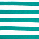 Teal Blue and White Stripe Cotton Jersey Blend Knit Fabric