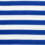 Royal Blue and White Stripe Cotton Jersey Blend Knit Fabric