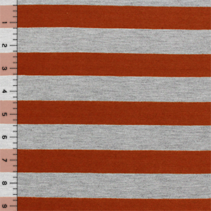 Red Orange Heather Gray Stripe Cotton Jersey Blend Knit Fabric