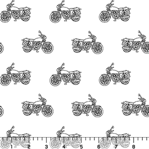Half Yard Vintage Motorcycle on White Cotton Spandex Knit Fabric