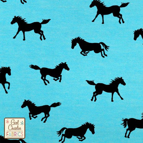Horse Play on Celeste Blue Cotton Jersey Blend Knit Fabric
