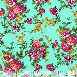 Chartreuse Purple Floral on Aqua Green Cotton Jersey Blend Knit Fabric