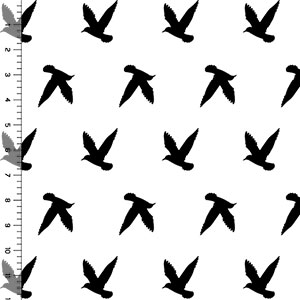 Bird Silhouette on White Cotton Jersey Blend Knit Fabric