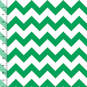 Half Yard Kelly Green Chevron Cotton Jersey Blend Knit Fabric