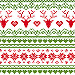 Red Green FairIsle Deer Heart on White Cotton Jersey Blend Knit Fabric