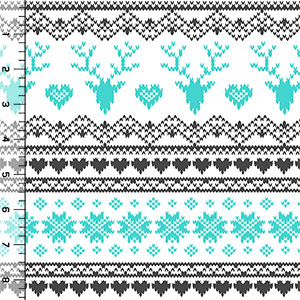 Half Yard Turquoise Charcoal FairIsle Deer Heart on White Cotton Jersey Blend Knit Fabric