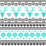 Turquoise Charcoal FairIsle Deer Heart on White Cotton Jersey Blend Knit Fabric