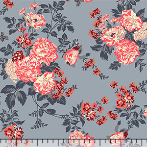 Coral Peach Floral on Slate Gray Cotton Spandex Knit Fabric