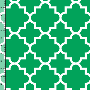 Quatrefoil Kelly Green Cotton Jersey Blend Knit Fabric