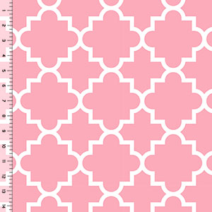 Quatrefoil Perfectly Pink Cotton Jersey Blend Knit Fabric