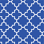 Quatrefoil Royal Blue Cotton Jersey Blend Knit Fabric