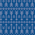 White Stitched Arrow on Blue Cotton Jersey Blend Knit Fabric