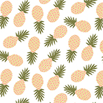 Pineapples on White Cotton Jersey Blend Knit Fabric