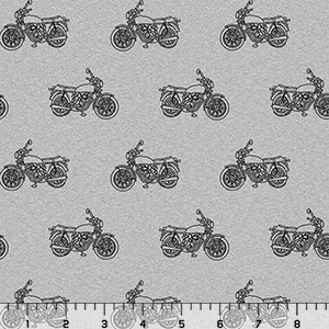 Vintage Motorcycle on Heather Gray Cotton Jersey Blend Knit Fabric