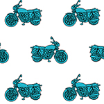 Blue Vintage Motorcycle on White Cotton Jersey Blend Knit Fabric