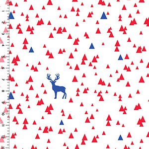 Half Yard Classic Blue Bittersweet Red Triangle Stag on White Cotton Jersey Blend Knit Fabric