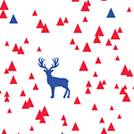 Classic Blue Bittersweet Red Triangle Stag on White Cotton Jersey Blend Knit Fabric