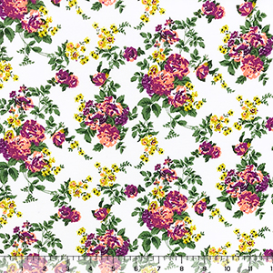 Chartreuse Purple Floral on White Cotton Jersey Blend Knit Fabric