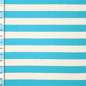 Half Yard Azure Blue Natural White Stripe Cotton Jersey Blend Knit Fabric