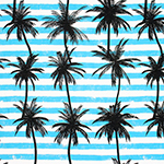 Palm Tree Silhouettes on Aqua Stripes Cotton Jersey Blend Knit Fabric