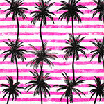 Palm Tree Silhouettes on Tango Pink Stripes Cotton Jersey Blend Knit Fabric