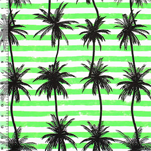 Half Yard Palm Tree Silhouettes on Lime Green Stripes Cotton Jersey Blend Knit Fabric
