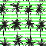Palm Tree Silhouettes on Lime Green Stripes Cotton Jersey Blend Knit Fabric