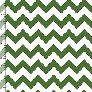 Treetop Green Chevron on White Cotton Jersey Blend Knit Fabric