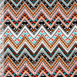 Aztec Festive Chevron Cotton Jersey Blend Knit Fabric