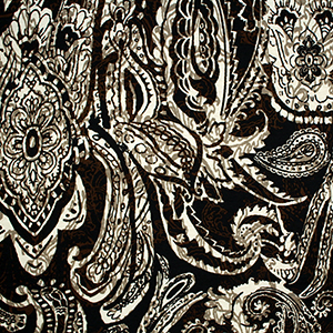 Half Yard Big Henna Paisley Brown Cotton Jersey Blend Knit Fabric
