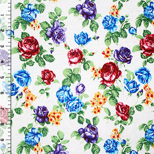 Jewel Roses on Ivory Cotton Jersey Blend Knit Fabric