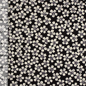Half Yard Taupe Daisy on Black Cotton Jersey Blend Knit Fabric