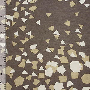 Mod Confetti Mustard on Mocha Cotton Jersey Blend Knit Fabric