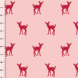Fawn Silhouette on Rose Cotton Jersey Blend Knit Fabric