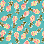 Pineapples on Robin Egg Blue Cotton Jersey Blend Knit Fabric