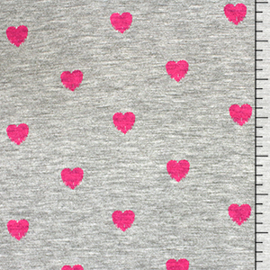 Pink Stamped Hearts on Heather Gray Cotton Jersey Blend Knit Fabric
